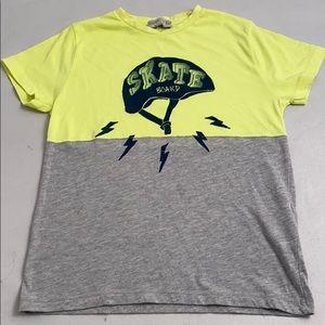 Zara neon yellow/gray skateboard graphic t-shirt